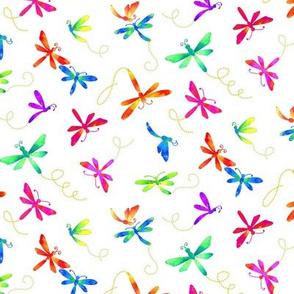 Flights of Fancy - Dragonflies on White