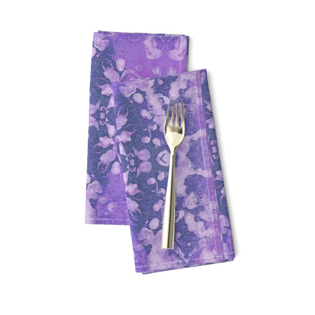 Amarela Dinner Napkins featuring blessed batik lilac by bodabe