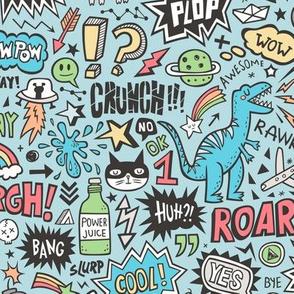 Superheroes  Dinosaurs Space  Galaxy Comic Speech Bubbles Doodle on Blue