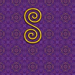 Golden Spiral on Purple Pattern