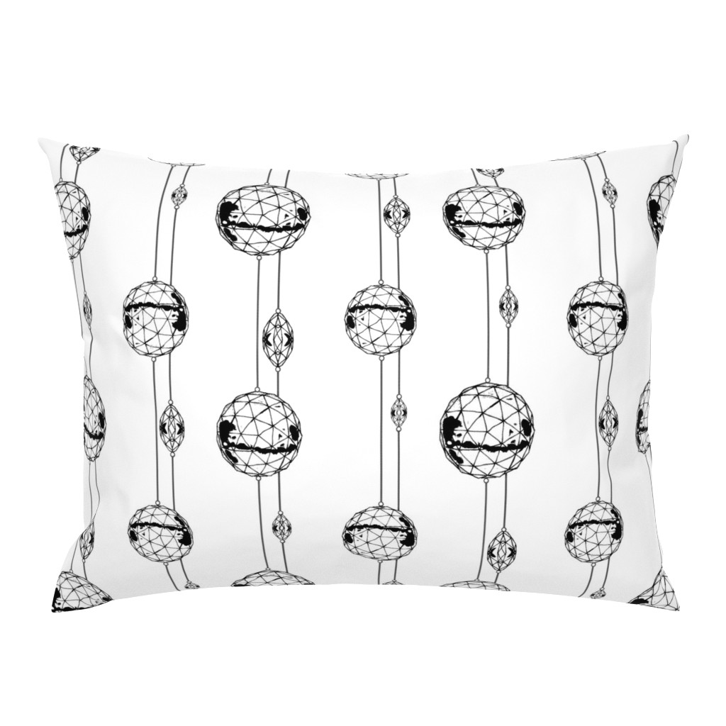 Campine Pillow Sham featuring Geo Glow Hanging Ornaments-B & W  by franbail