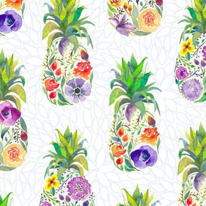 Pretty Pineapples on White