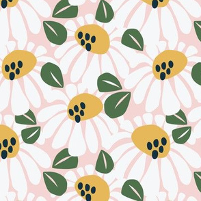 Tuscan Sunflowers | White on Pink
