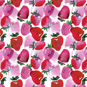 pink watercolor strawberries