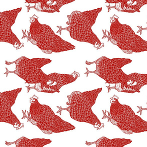 Red Hens Rotated