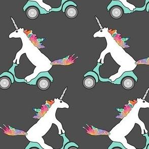 unicorns on mopeds on gray