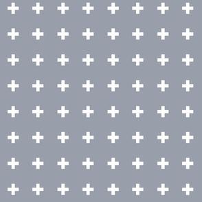 Swiss Crosses - Fog Gray White