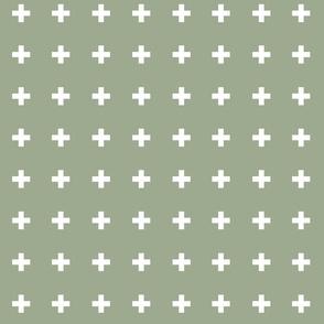 Swiss Crosses - Sage White