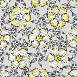 Geometric Star Flowers, Gray, Yellow