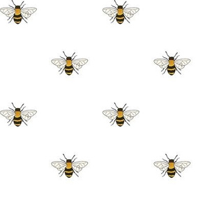 Bees on White - small-medium scale