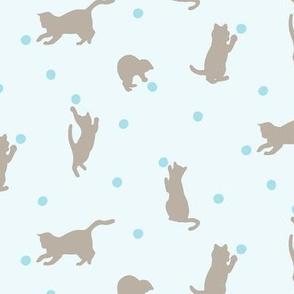 Polka Dot Cats in Blue