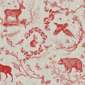 Woodland Winter Toile (cranberry) LARGE
