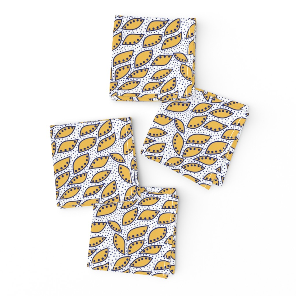 Frizzle Cocktail Napkins featuring Indonesian Leaf Dots Yellow and Dark Blue by bloomingwyldeiris