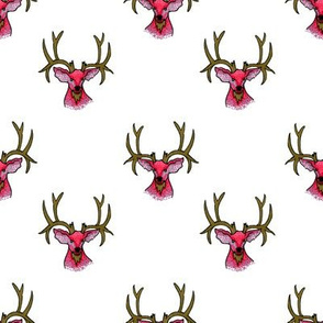 Bohemian Pink and Gold Stag Head