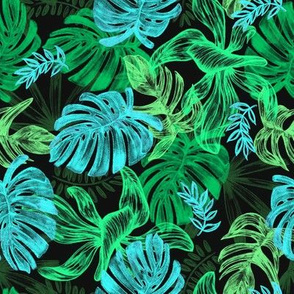 tropical leaves - green - large