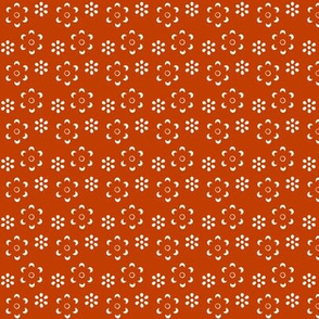 Court & Spark - Scandi Floral White on Orange Cutout