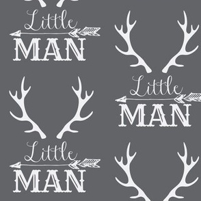 Little Man Arrow & Horns White on Grey