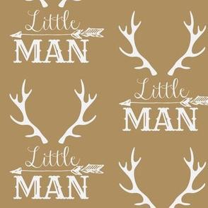 Little Man Arrow & Horns White on Light Brown Tan