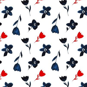 Watercolor navy blue and red flowers