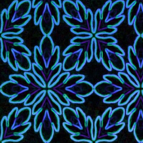 Neon Bordered Floral - Blue on Black