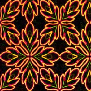 Neon Bordered Floral - Orange on Black