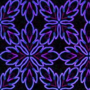 Neon Bordered Floral - Purple on Black