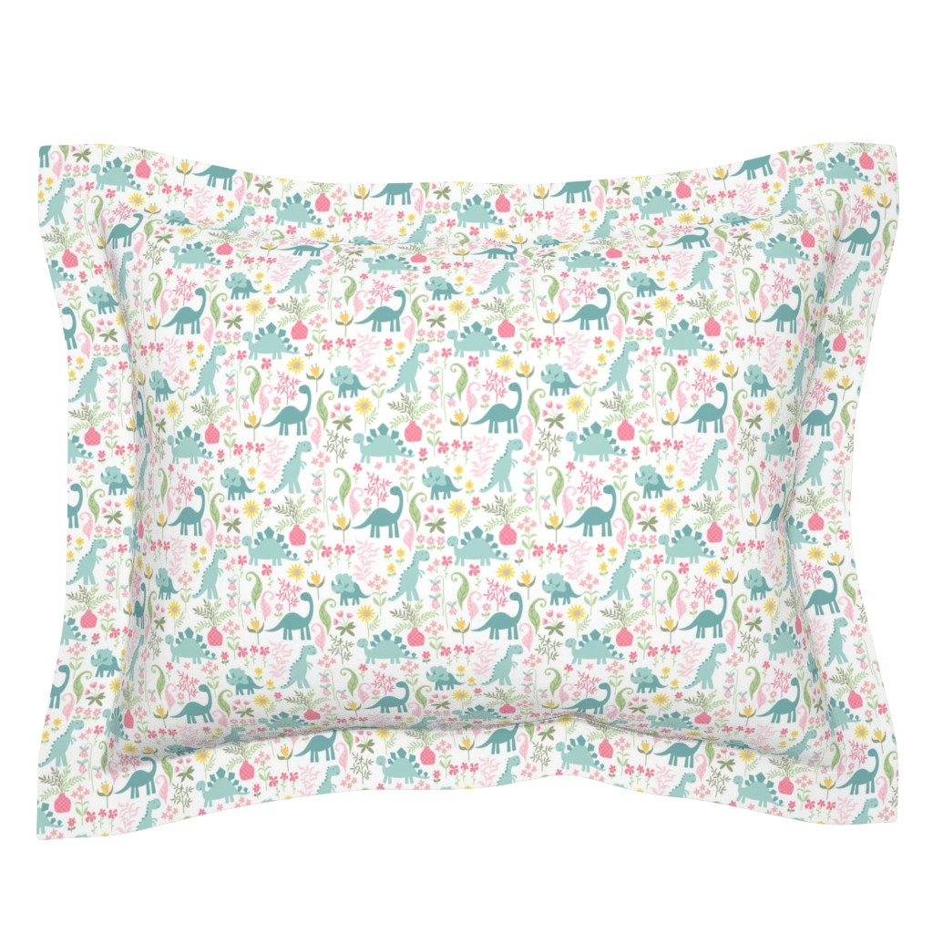 Sebright Pillow Sham featuring dino garden 8 by laura_may_designs
