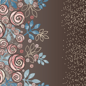 Large Floral Rose Border in Peach, Blue, Brown