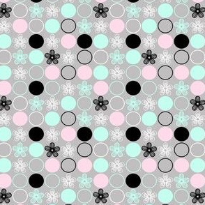 Polka Dots and Flowers in Mint, Pink, Gray, Black