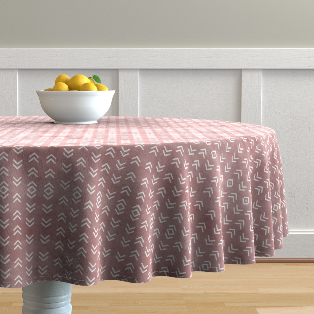 Malay Round Tablecloth featuring Mudcloth // Quicksand Pink by hipkiddesigns