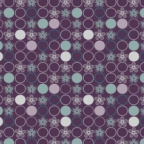 Purple, Gray, and Aqua Polka Dots and Flowers