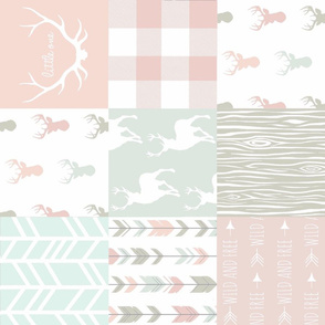 Patchwork Deer - Pastels/White 2 - rotated