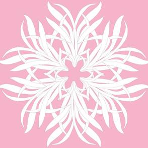grass flower white on pink