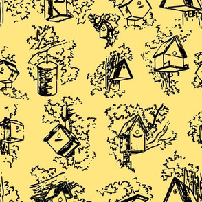 Birdhouse Toile- Yellow