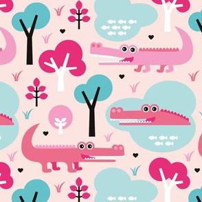 Cute colorful crocodile alligator jungle zoo adventure pink girls illustration pattern