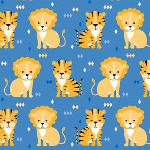 lion & tiger on blue