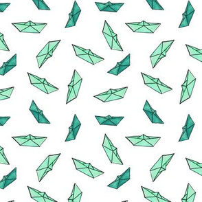 Watercolor paper boats in emerald