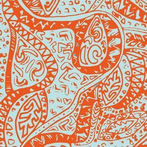 Hawaiian Ancient Pattern - Blue Orange