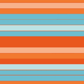 Hawaiian Blue Orange Stripe Colors