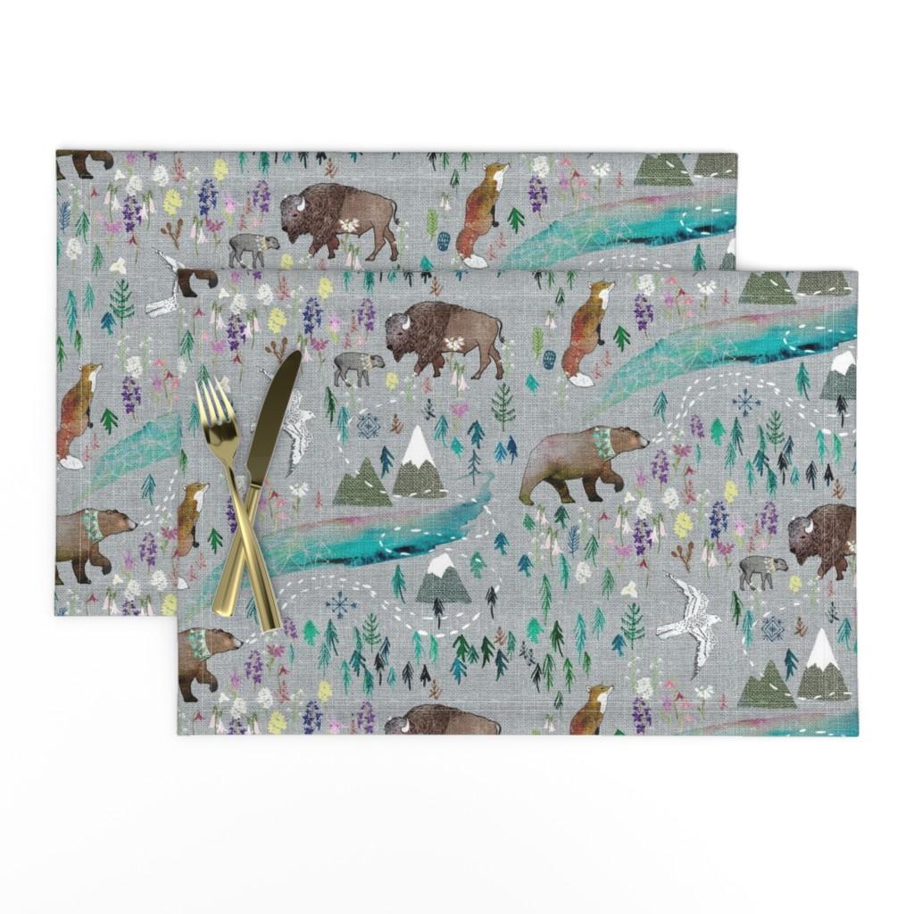 Lamona Cloth Placemats featuring Summer Aurora  by nouveau_bohemian