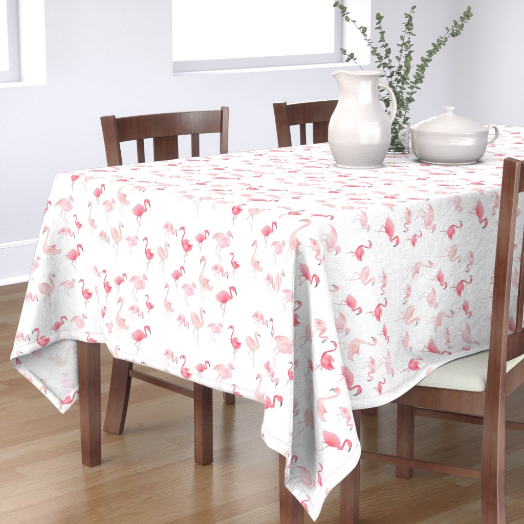 Bantam Rectangular Tablecloth featuring Watercolor Pink Flamingos by hipkiddesigns