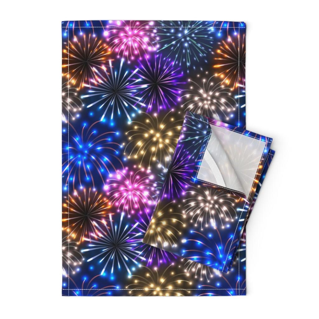 Orpington Tea Towels featuring Fireworks by sveta_aho