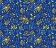 Hawaiian Fireworks with palm trees