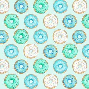 Iced Donuts Blue on light mint - 1.5 inch donuts