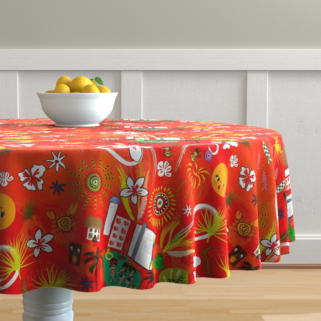 Malay Round Tablecloth featuring Hilton Fireworks by orangefancy