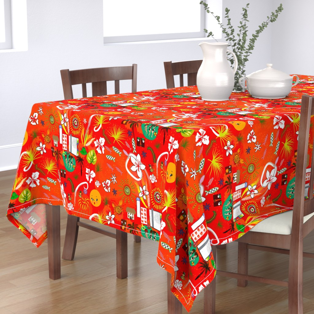 Bantam Rectangular Tablecloth featuring Hilton Fireworks by orangefancy