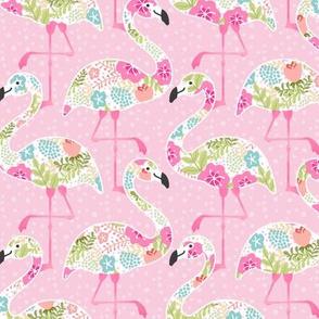 Flowery Pink Flamingo Summer - medium