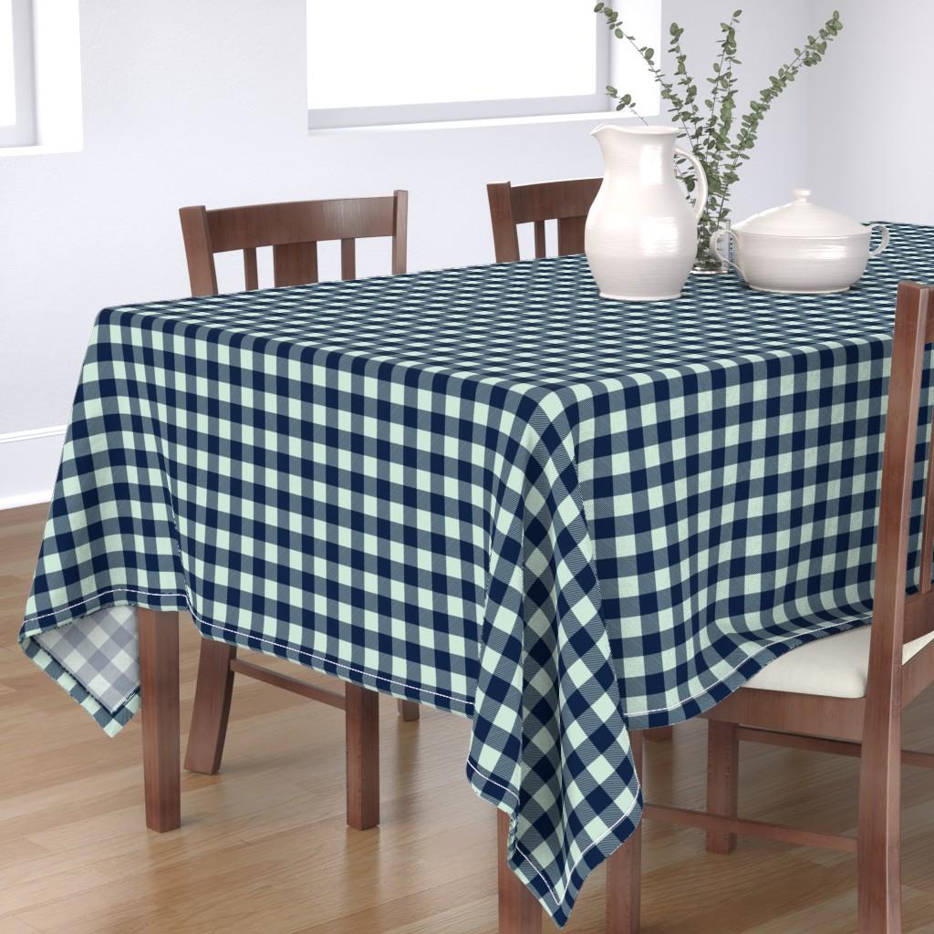 "Bantam Rectangular Tablecloth featuring buffalo plaid 1"" - navy and mint by littlearrowdesign"