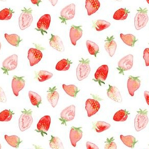 Watercolor strawberry summer fruit Small || food red white green 4th of JUly Miss Chiff Designs