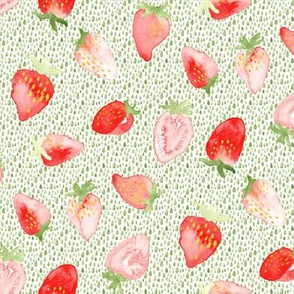 Strawberry Strawberries Watercolor Green || Red Summer Fruit 4th of July Miss Chiff Designs